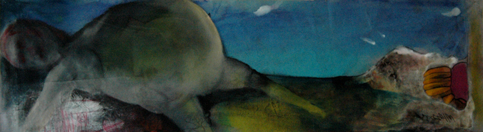 Bagnasciuga - 227x77cm - mixed on canvas Manuel Baldassare Artist 2011