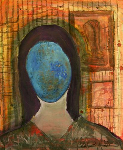 Blue Monnalisa - 68x144cm - mixed on canvas- Manuel Baldassare Artist 2011