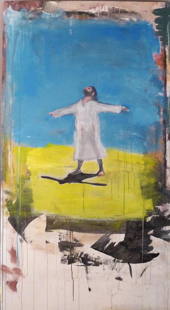 Sur le chemin de Medjugorje, autoportrait; cm 150 x 100 Mixed media on canvas