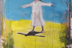 Sur le chemin de Medjugorje, autoportrait; cm 150 x 100 Mixed media on canvas