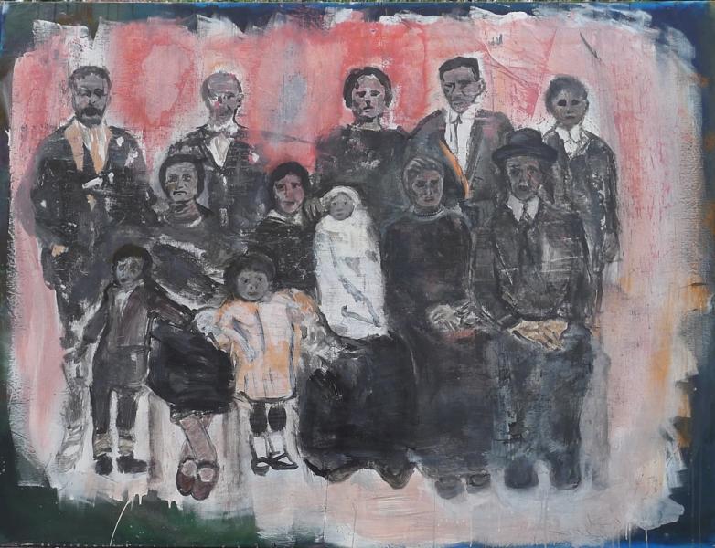 Famiglia in posa statica senza fotoritocco;                   cm 208 x 160  Mixed media on canvas